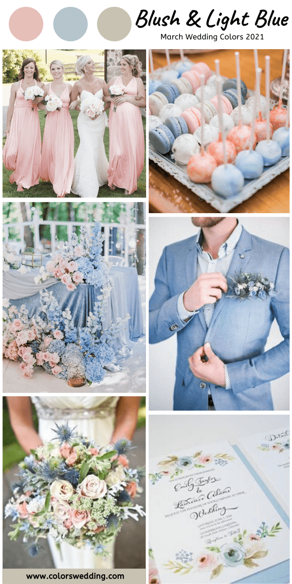 march wedding colors 2021 blush and light blue