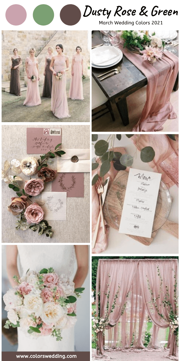 march wedding colors 2021 dusty rose and green