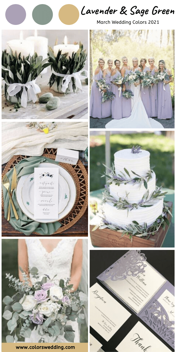 march wedding colors 2021 lavender and sage