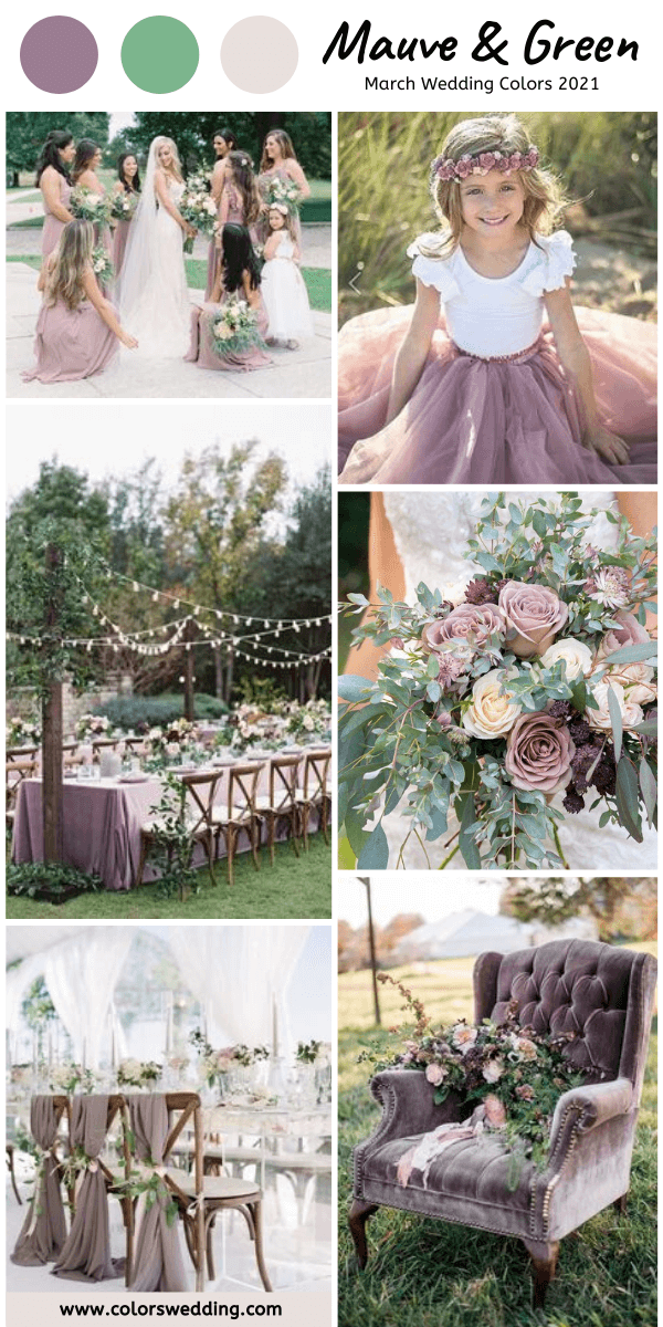 march wedding colors 2021 mauve and green