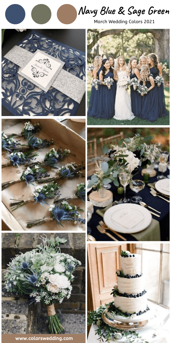 march wedding colors 2021 navy blue and sage green