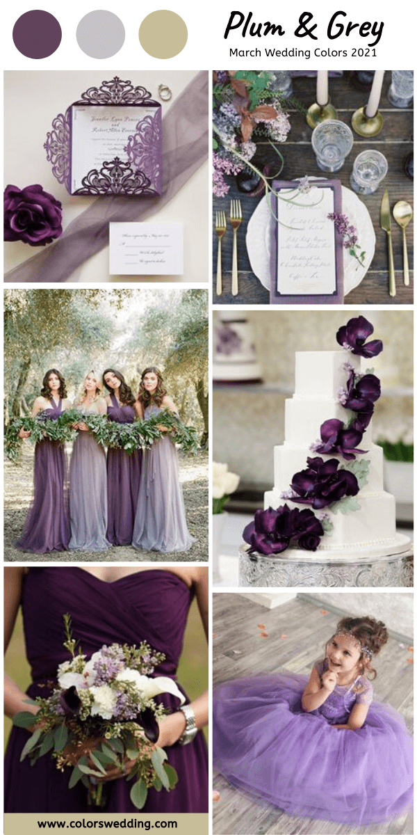 march wedding colors 2021 plum and grey