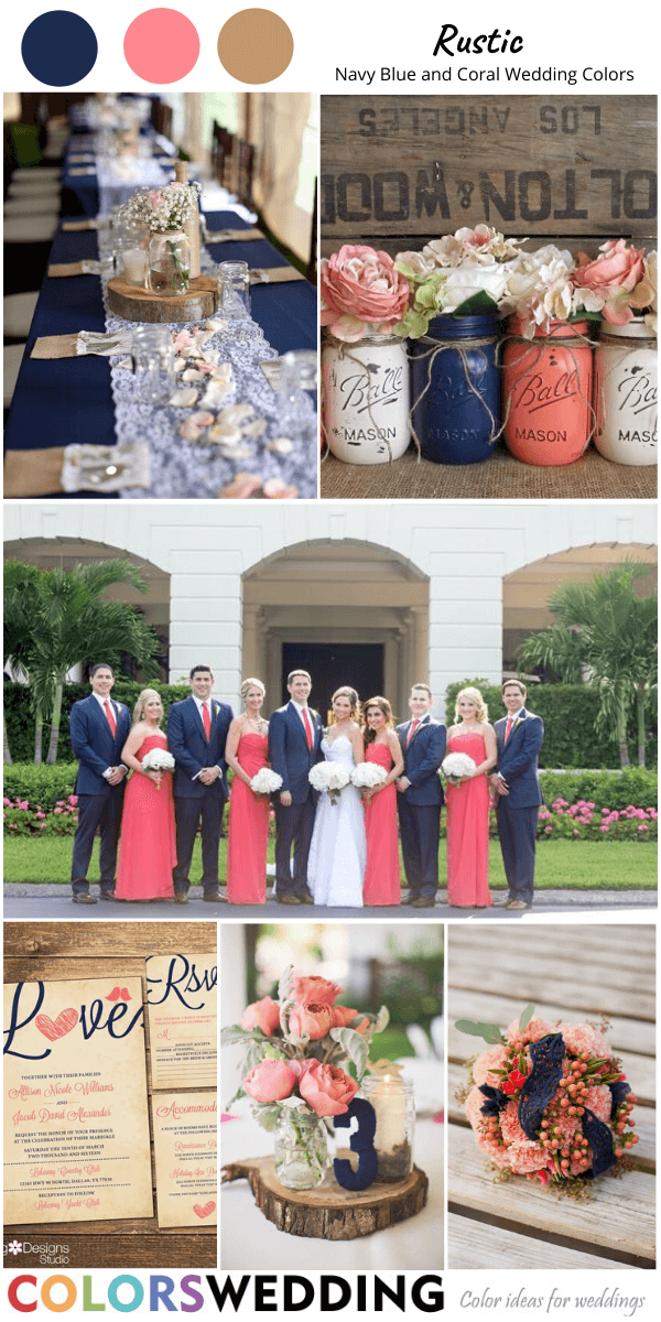Navy And Coral Wedding Table Decorations  from www.colorswedding.com