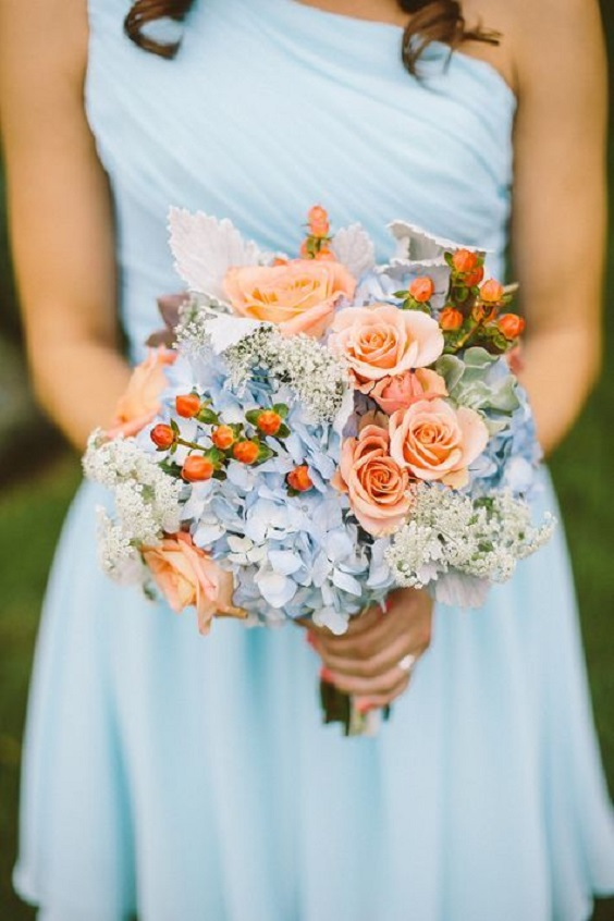 ice blue bridesmaid dress and bouquet for ice blue and peach summer wedding 2020