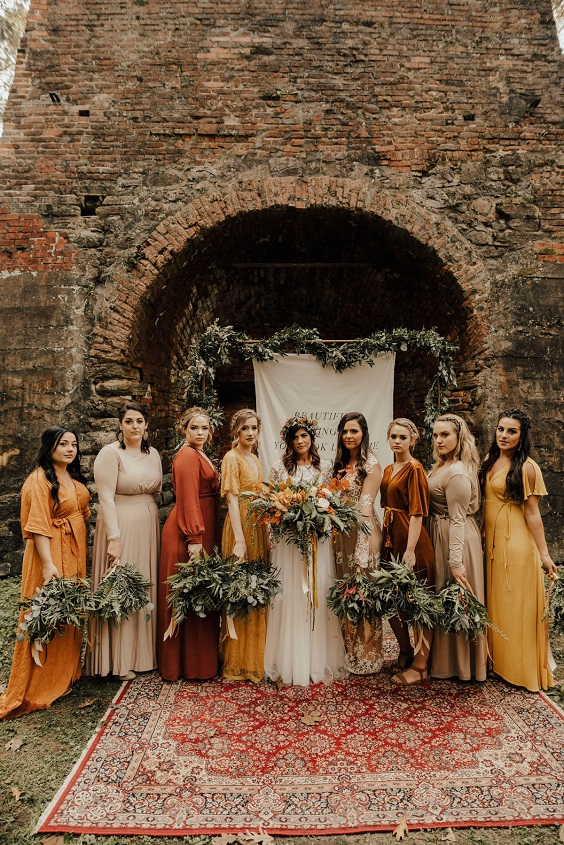 rust and yellow bridesmaid dresses for rust and yellow fall wedding 2020