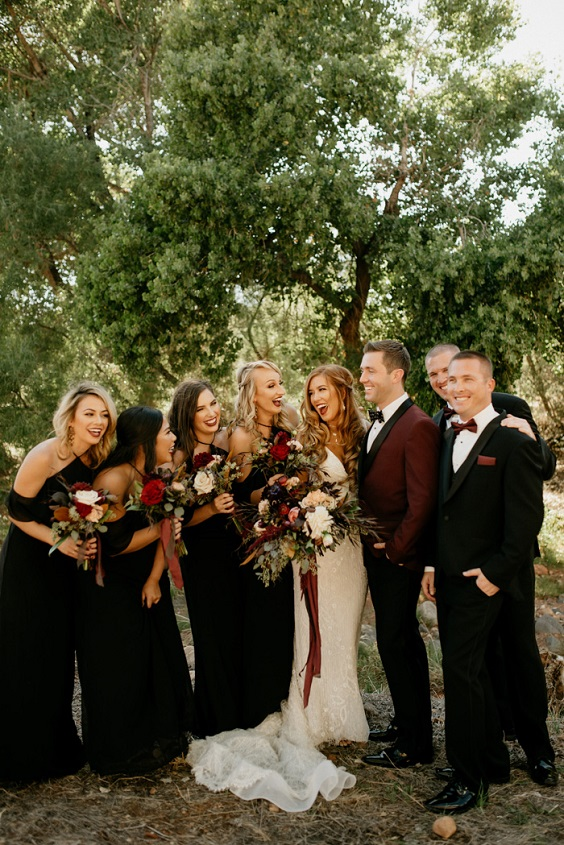 white gown and black bridesmaid dresses for black and burgundy fall wedding 2020