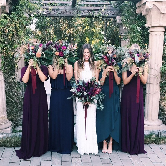 navy blue and burgundy bridesmaid dresses for navy and burgundy fall wedding 2020