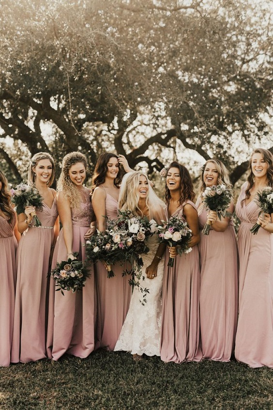 dusty rose bridesmaid dresses for dusty rose and sage green fall wedding 2020
