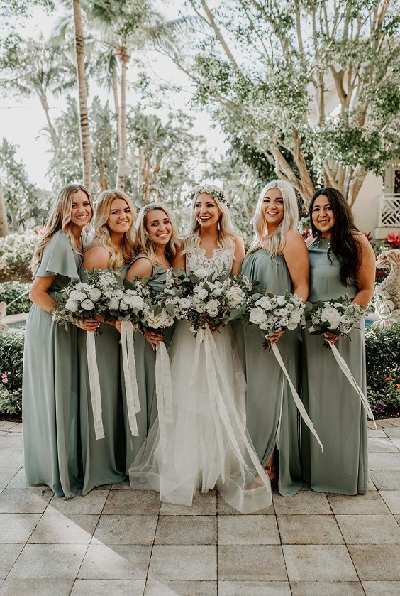 sage green bridesmaid dress for sage green and gold september wedding color 2020