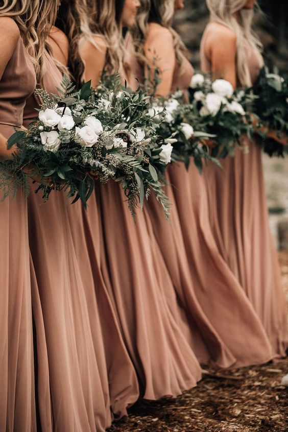 terracatta bridesmaid dresses for terracotta and greenery september wedding color 2020