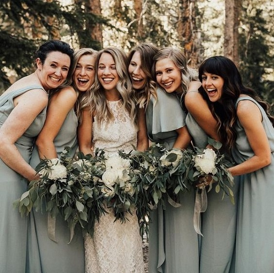 sage green bridesmaid dresses for neutral fall wedding colors sage green and gold