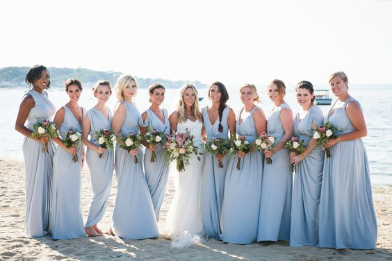 Colors Wedding Sky Blue And White Simple Beach Wedding Sky Blue Bridesmaid Dresses,Stylish Best Indian Wedding Dresses For Girls