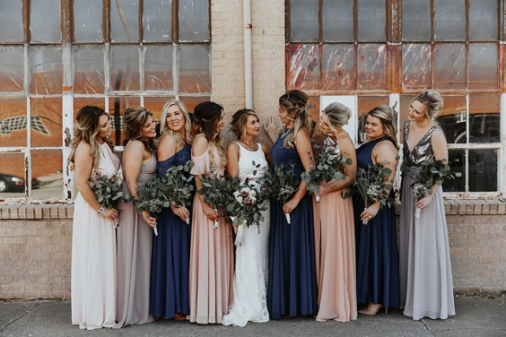 navy blue blush and grey bridesmaid dresses for rustic outdoor wedding colors navy blue and blush