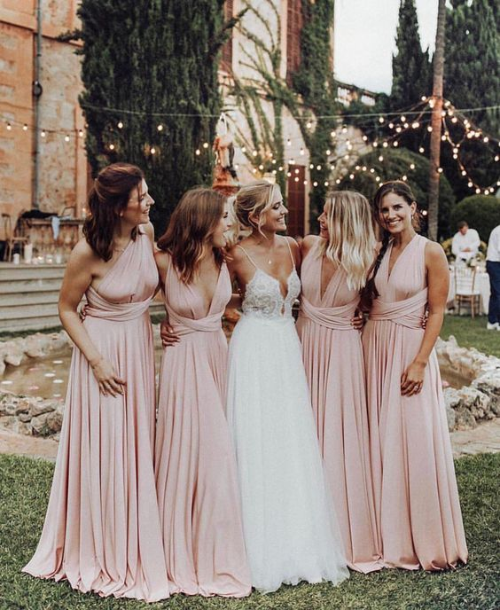 light pink dresses for white barn wedding colors white and light pink