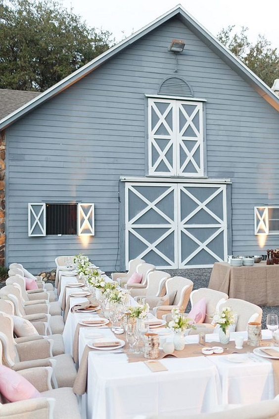 slate blue barn white and blush table setting for white barn wedding colors white slate blue and blush