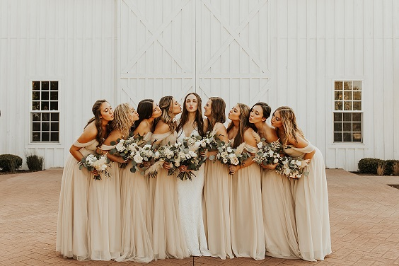 beige bridesmaid dresses for white barn wedding colors white and beige
