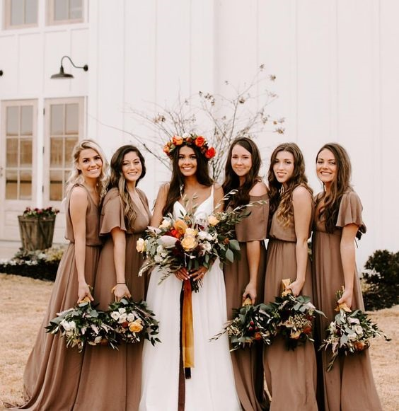 white bridal gown and dusty orange bridesmaid dresses for white barn wedding colors dusty orange and white