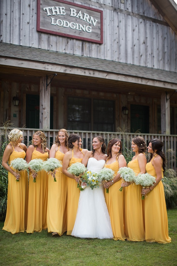 yellow bridesmaid dresses for rustic blue and yellow wedding