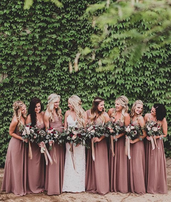 dusty rose bridesmaid dresses with greenery for dusty rose and greenery vintage rose wedding