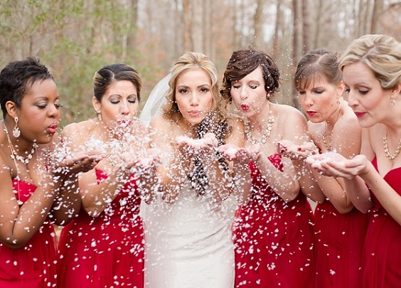 red bridesmaid dresses and white wedding dress for rustic red and white wedding