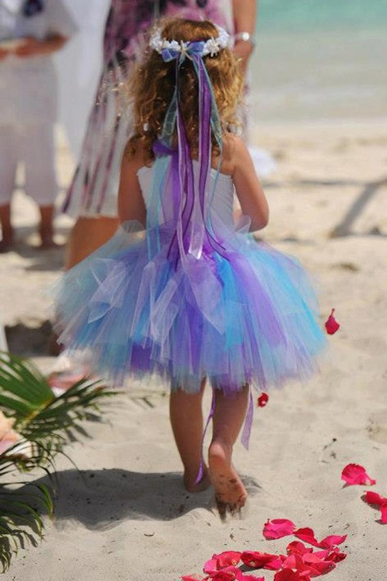 teal and purple flower girl dresses for beach teal and purple wedding