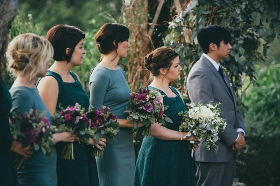 teal bridesmaid dresses purple bouquets for elegant teal and purple wedding