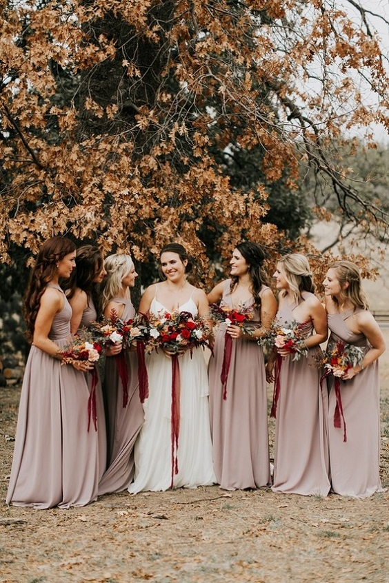 champagne bridesmaid dresses for burgundy and champagne fall wedding 2