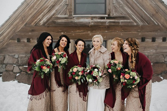 champagne bridesmaid dresses with burgundy shawls for burgundy and champagne winter wedding