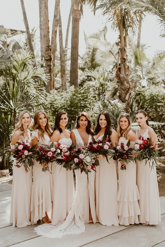 champagne bridesmaid dresses for burgundy and champagne boho wedding