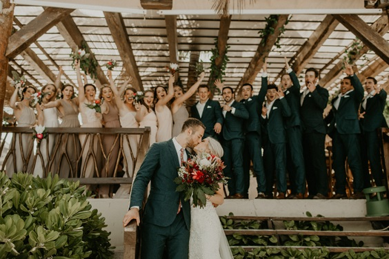champagne bridesmaid dresses and navy groomsmen suits for burgundy and champagne beach wedding