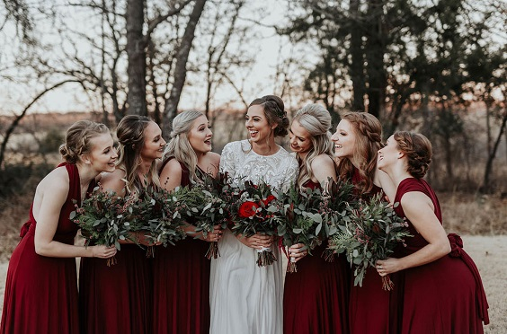 burgundy bridesmaid dresses for burgundy and champagne rustic wedding