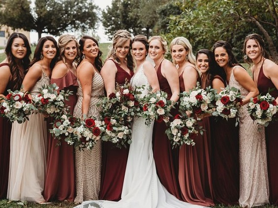 mismatched bridesmaid dresses for burgundy and champagne church wedding
