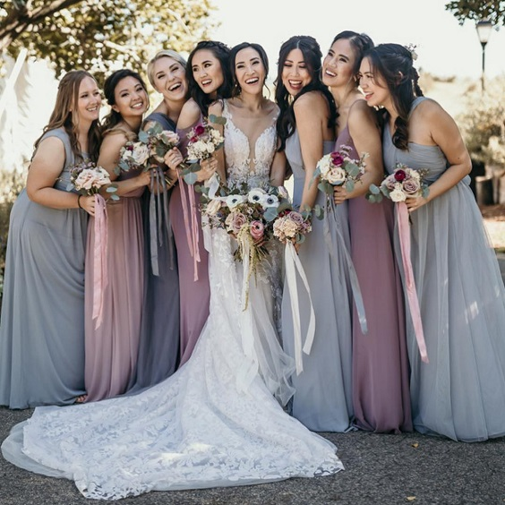 grey mauve bridesmaid dresses for grey mauve mauve and grey wedding