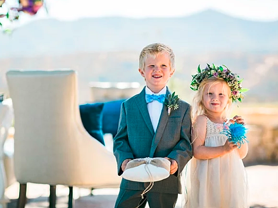 blue bow tie and blush flower girl for blue purple and blue wedding